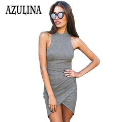 Sexy Women Knitted Ladies Sleeveless Wrap Beach Mini Short Dress