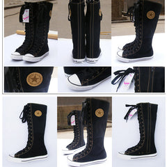 Manresar Fashion 7 Colors Lace Zip Knee High Women's Canvas Boots