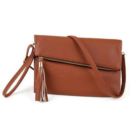 New Tassel Fold Cover Slim Crossbody Bag for Women