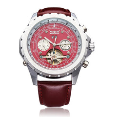 JARAGAR Luxury Automatic Mechanical Tourbillon PU Leather Red Men Wrist Watch
