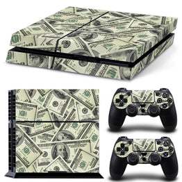 Dollars Money Design Vinyl Game Protective Skin Sticker for Sony PS4 Console