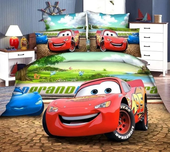 3D McQueen car-covers bedding set single size for baby boy's bedroom
