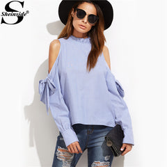 Women Sheinside Fall Clothes Long Sleeve Cold Shoulder Blouse Blue Striped Ruffle Collar