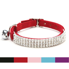 Elastic Adjustable collar with Diamante Rhinestone bell & Soft velvet material