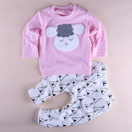 Cute baby girl cotton long sleeved clothing printed t-shirt+pants 2pcs set
