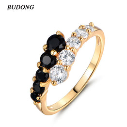 Women's Gold Plated New Fashion White & Black CZ Zircon Engagement Ring