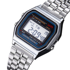 Digital Multifunctional Wristwatches Men Women Stainless Steel LED