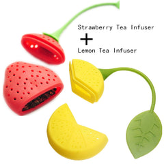 Silicone Strawberry + Lemon Loose Tea Leaf Strainer
