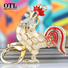 Cock Rooster Chicken Lovely Crystal Keyrings Keychains Rhinestone Bag Pendant Key chains