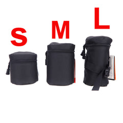 Camera Lens Bag Pouch for DSLR Nikon Canon Sony Lenses Black Size S M L