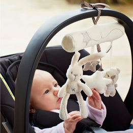 Rabbit Music Hanging Safety Seat Plush Toy for Baby Stroller