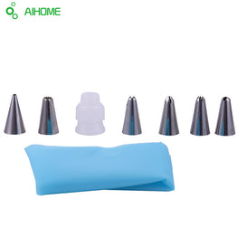 Silicone Icing Piping Cream Pastry Bag with 6pcs Stainless Steel Nozzle
