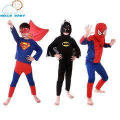 Spiderman Batman Superman Children's Birthday Party Superhero Costumes Cloths Boys