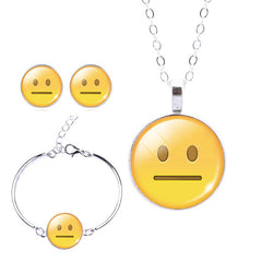 Emoji Earrings & Pendant Necklace & Cuff Bracelet Bangle Jewelry Sets