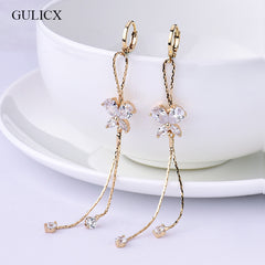 Gold Plated Crystal Zircon Long Tassel Dangle Earrings