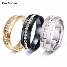Titanium Steel Luxury Rhinestone Sliver Ring for Woman
