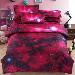 4/3Pcs Bedclothes Twin/Queen Size 3D Galaxy Bedding set For Kids