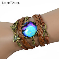 Multilayer Galaxy Braided Leather Bracelet for Women
