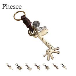 Bronze Plated Vintage Punk Genuine Leather Cute Animal Style Key Chains
