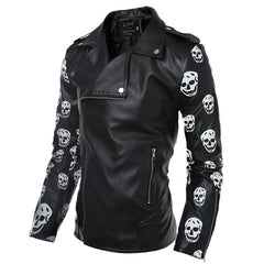 Fashion Leather Jacket Coats Slim Fit Man Jacket Man Wear Harley Skull