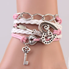 Cupid's White & Pink Leather Arrow Charms Infinity Bracelet for Women