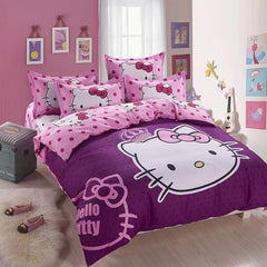 Home textiles Cartoon purple Hello kitty bed linen for children King size