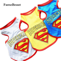 Superman Pattern Dog Clothes Sport Style Vest T-shirt With Patterned Pet Clothing