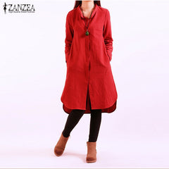 ZANZEA Women Autumn Casual Loose Vintage Dress Ladies Long Sleeve