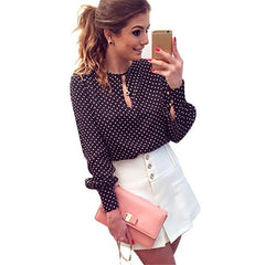 Blusas Femininas Polka Dot Vintage Chiffon Ladies Tops Long Sleeve Women Shirt Blouses
