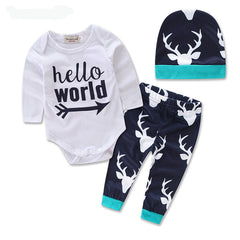 Baby Boy Beanies + Hello World Romper + Full Pants Suits Xmas Clothing Set