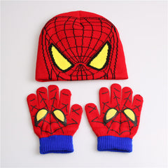 Gloves + hat  Hot Sale Children's Winter Glove Hat Sets Fashion Kids Baby Warm Knitted Caps Spiderman