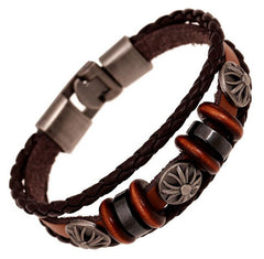 Trendy Leather Braided Cross Charm Vintage Fashion Accessories