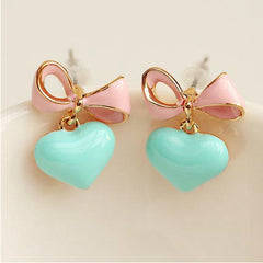Cute Candy Color Love Bow earrings for Women