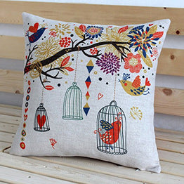 New Vintage Cotton Linen Tree with Owl Cage Cushion Cover/Pillow Case