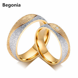 CZ Gold Plated Titanium Steel Couple Rings for Men & Women