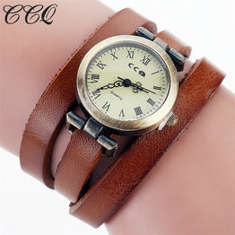 Vintage Cow Leather Bracelet Roma Women WristWatch Casual Luxury Quartz Watch