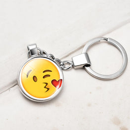 Silver Plated Double Side Funny Emoji Pattern Key Chain