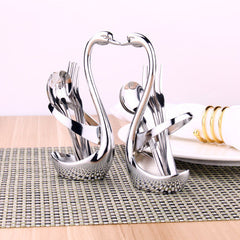 Swan Dinnerware Spoon Sets Spoon Fork Holder Wedding Party Fruit Tableware Set