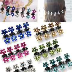 12 PC Crystal Flower Clamp Hair Clip Hair Claw Hairpins Mini Hair Accessories for Baby Girl