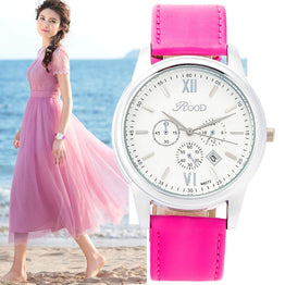 Silver Plate 6 Color Gift Box Leather Strap Waterproof Wristwatch for Women