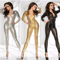 Jumpsuits Gold Black Sliver Women Bodysuit Sexy Vinyl Women Catsuit Jumpsuit