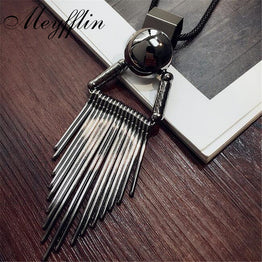 Vintage Tassels Sweater Chain Long Necklaces for Women