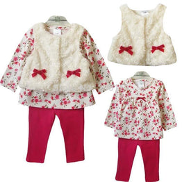New Style Baby Girl's Spring Autumn Winter Clothing Set Tops+pans+vest