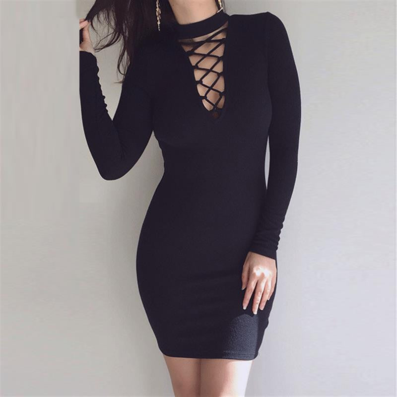 Long Sleeve Women Dress Sexy Night Wear Criss Cross Bandage Bodycon Dress Plus size
