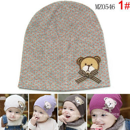 Wave Point Cute bear Characters Baby Bonnet