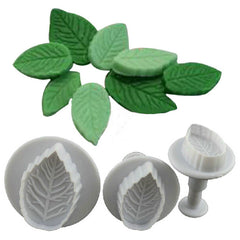 Rose Leaf Plunger Fondant Decorating Tools for Baking 3 Pcs