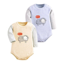 Baby Clothing 2 Pieces Bodysuit with Long Sleeve Sheep Print for Winter