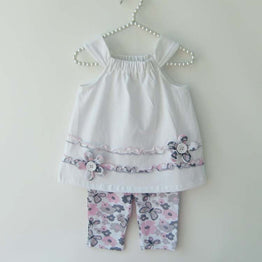 Cute Baby Girls' Laciness Top & Print 2-Piece Clothing Sets