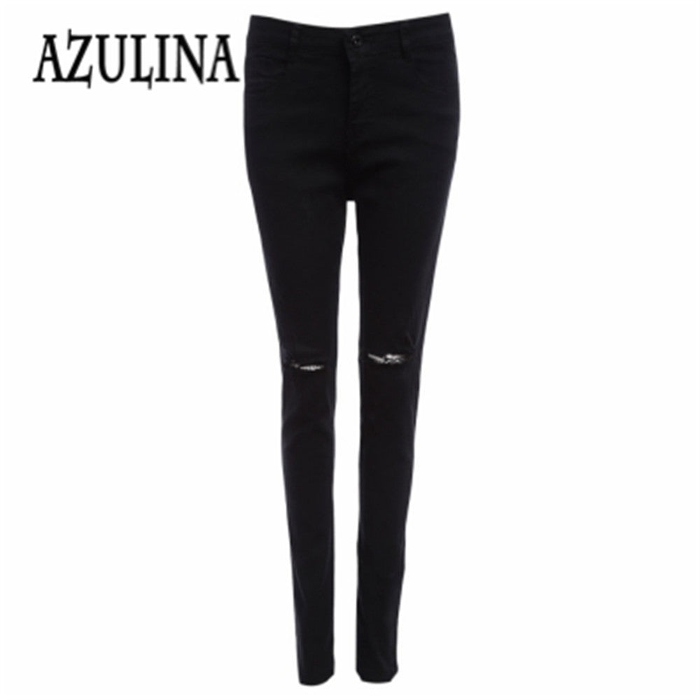 AZULINA Elastic Slim Hole Jeans for Women black Pencil Denim Long Pants Soft Tight