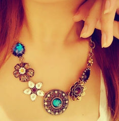 Vintage Women Necklaces & Pendants Link Chain Necklace Round Flower Gem Pendant For Gift Party